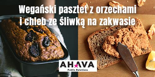 Wegański pasztet z orzechami i chleb ze śliwką
